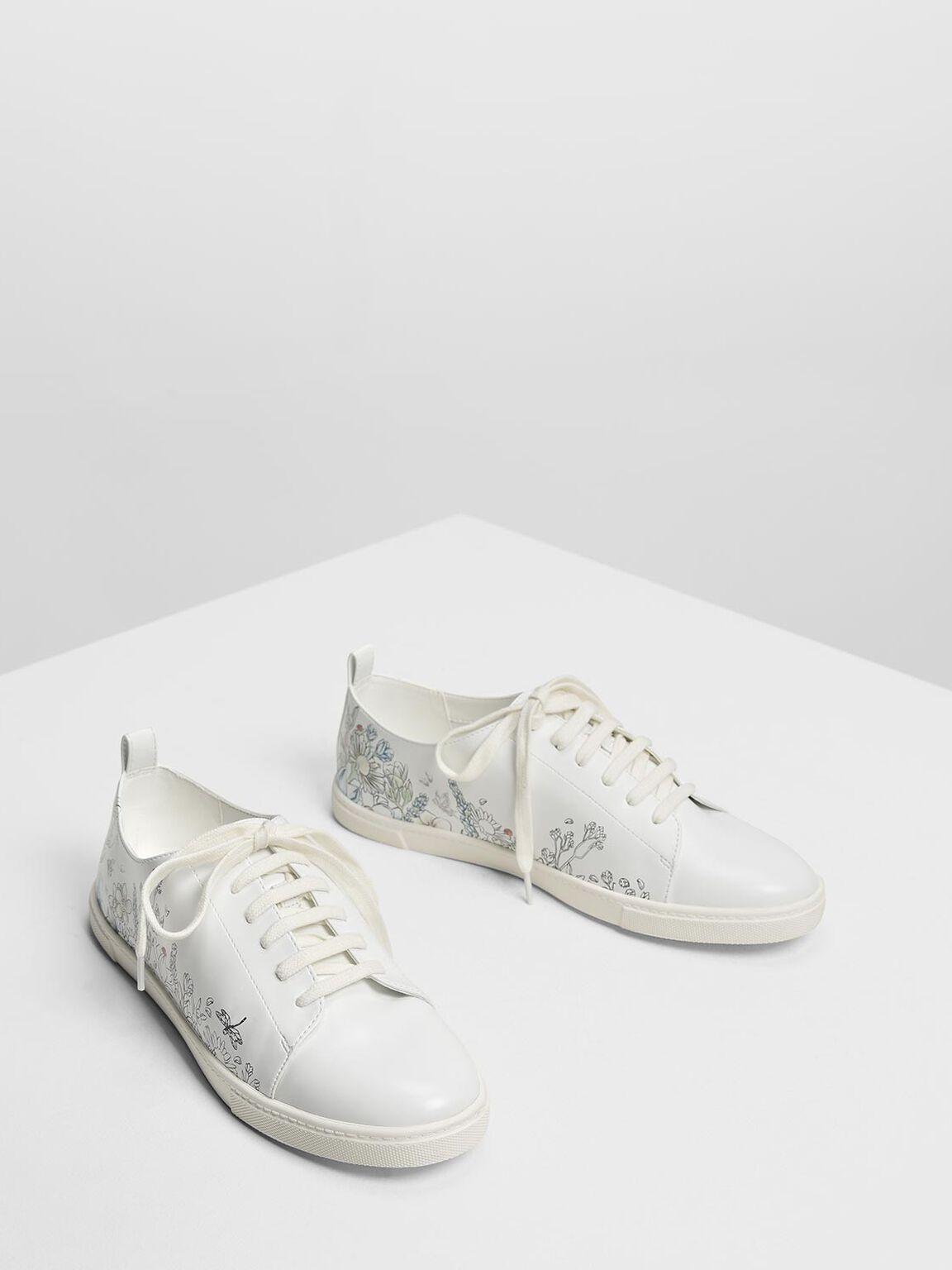 Garden Print Sneakers, White, hi-res