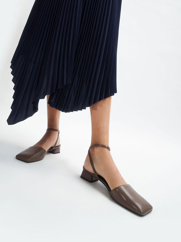 Square Toe Ankle Strap Pumps, Dark Brown, hi-res