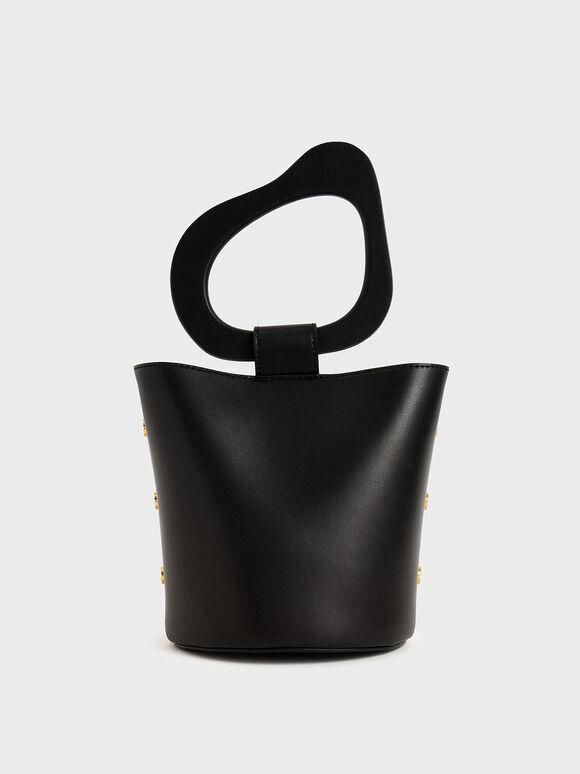 Sculptural Handle Bucket Bag, Black, hi-res