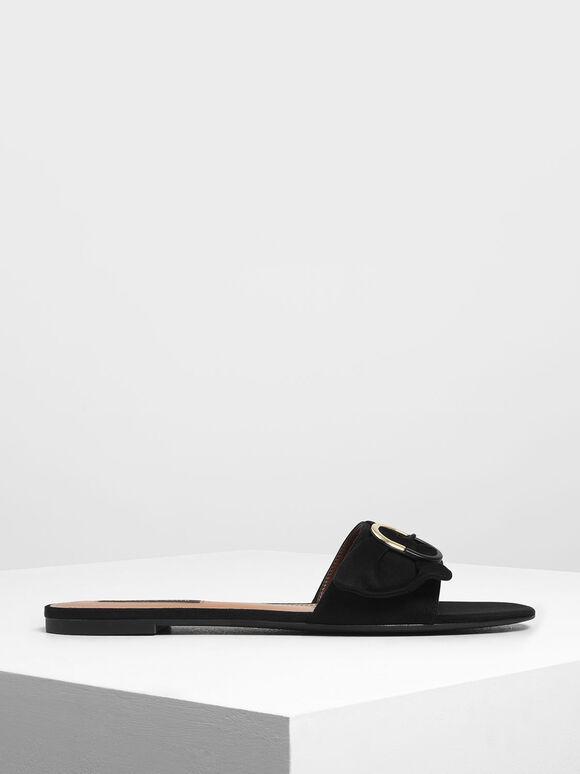 Ruched Two-Tone Buckle Slide Sandals, Black, hi-res