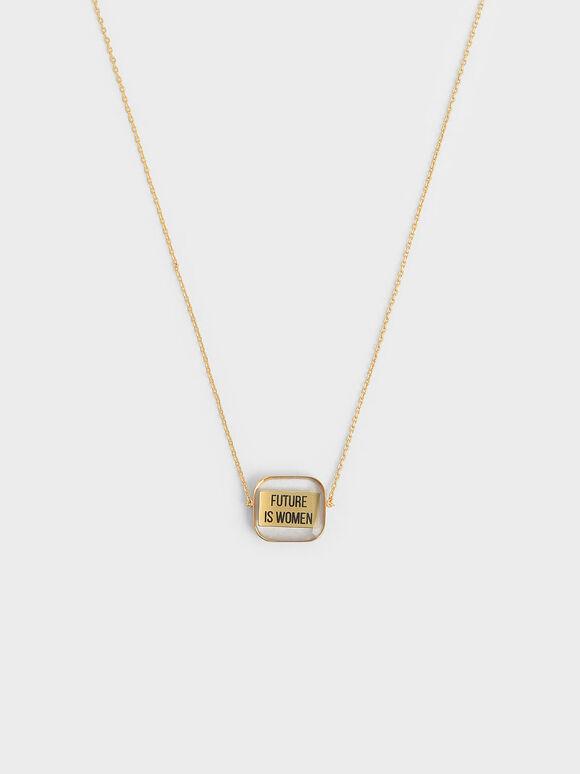 """FUTURE IS WOMEN"" Acrylic Necklace, Bronze, hi-res"