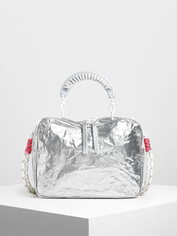 Rope Handle Wrinkled Effect Metallic Bag, Silver, hi-res
