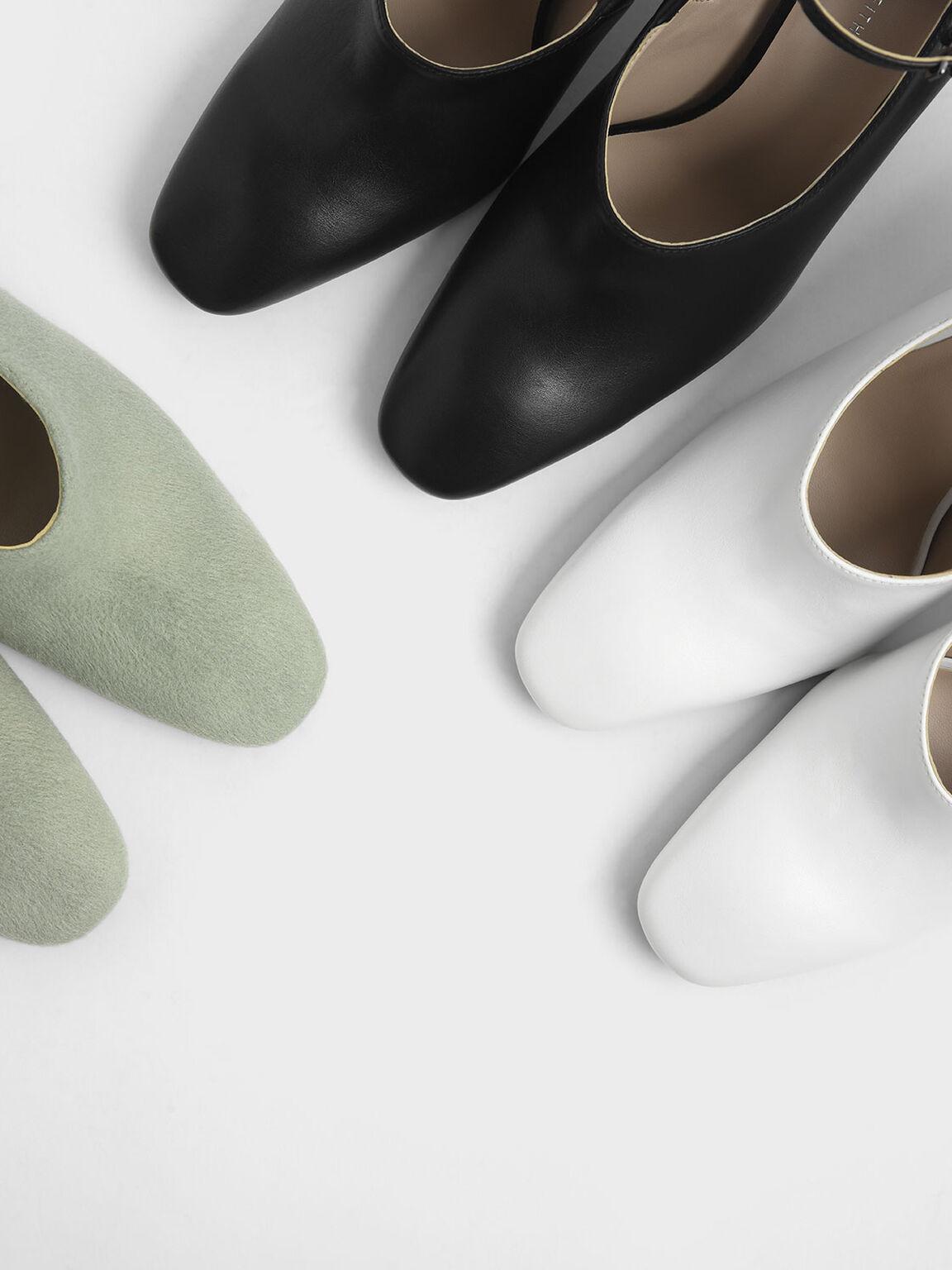 Ankle Strap Concrete Heel Pump, Black, hi-res