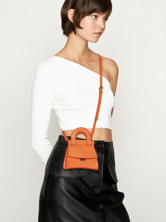 Mini Patent Top Handle Pouch Bag, Orange, hi-res