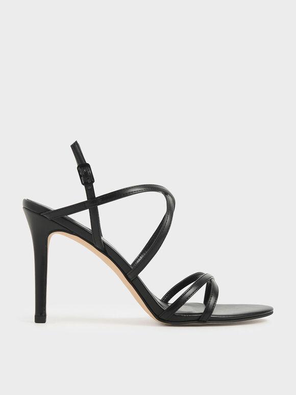 Criss Cross Strappy Stiletto Heels, Black, hi-res