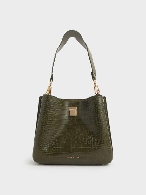 Croc-Effect Bucket Shoulder Bag, Olive, hi-res