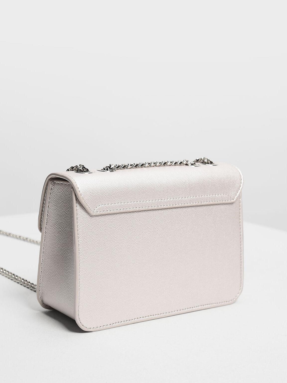 Embellished Push Lock Clutch, Pearl, hi-res
