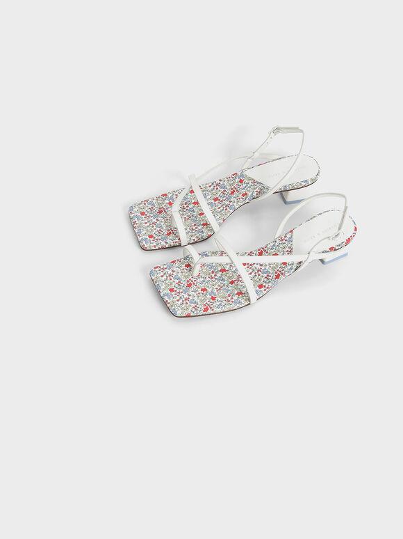 Printed Toe Loop Slingback Sandals, White, hi-res
