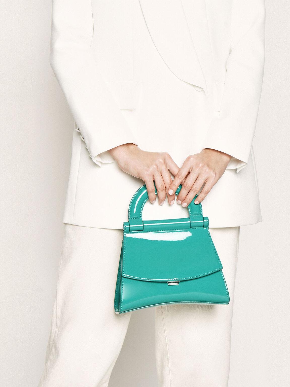 Patent Top Handle Bag, Teal, hi-res