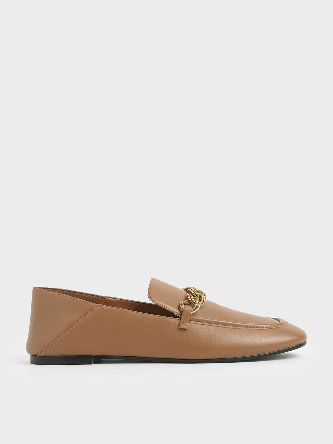 Chain Strap Step-Back Loafers, Camel, hi-res