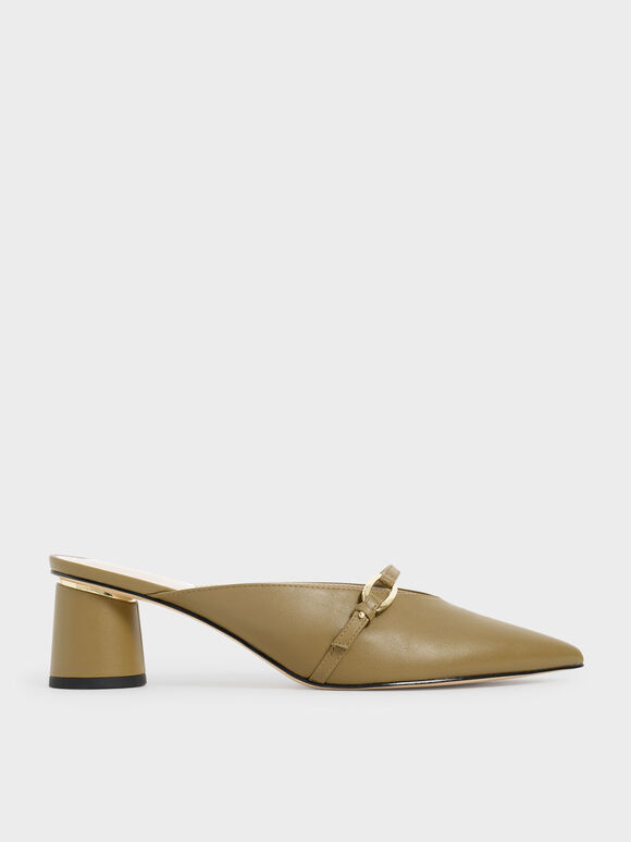 Metallic Accent Pointed Mules, Olive, hi-res