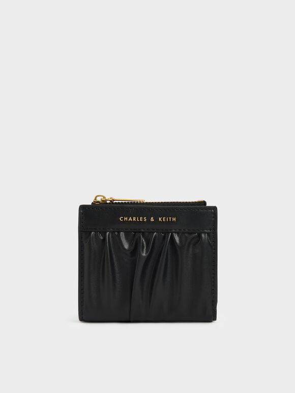 Ruched Short Wallet, Black, hi-res