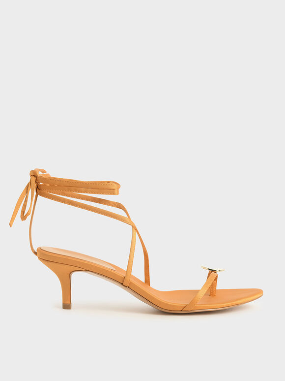 Metal Accent Satin Sandals, Mustard, hi-res