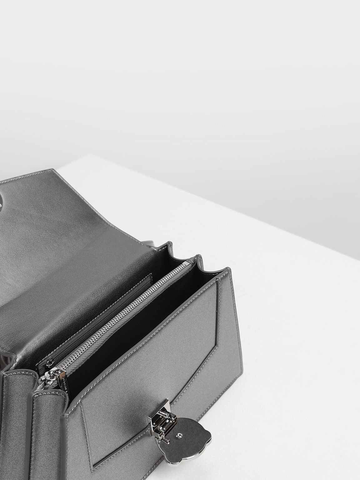 Ribbon Shoulder Bag, Silver, hi-res