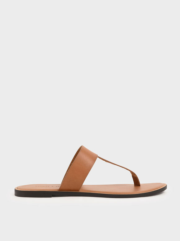 T-Bar Slide Sandals, Cognac, hi-res