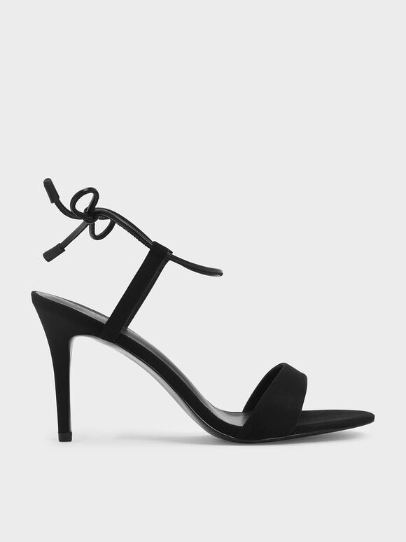 Ankle Tie Stiletto Sandals, Black, hi-res