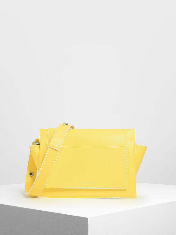 Chain Handle Shoulder bag, Yellow, hi-res