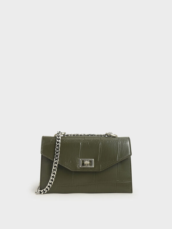 Croc-Effect Turn-Lock Crossbody Bag, Olive, hi-res
