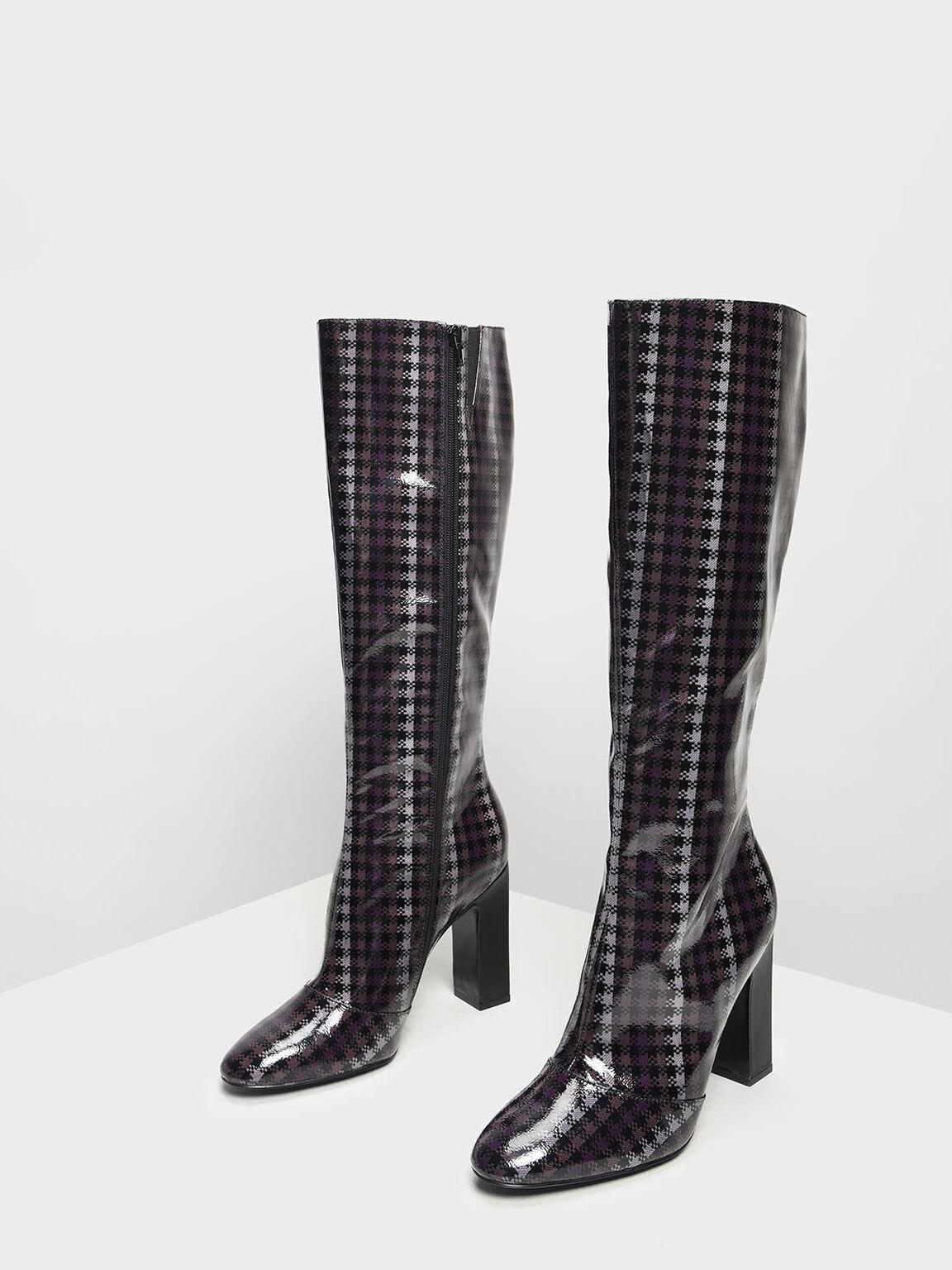 Classic Knee Boots, Purple, hi-res