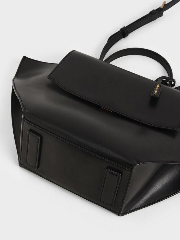 Geometric Top Handle Bag, Black, hi-res