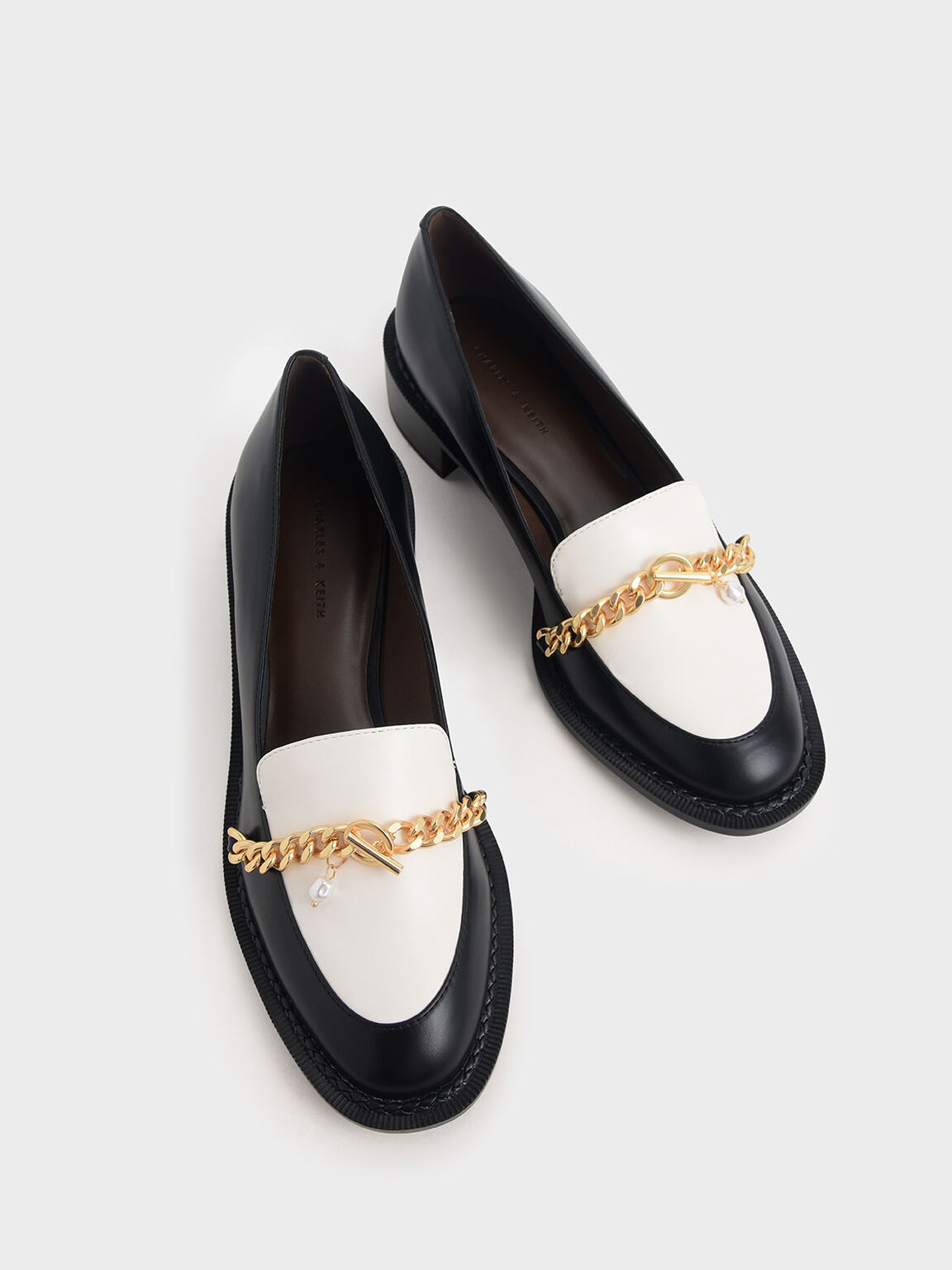Two-Tone Chain Link Loafers, Multi, hi-res