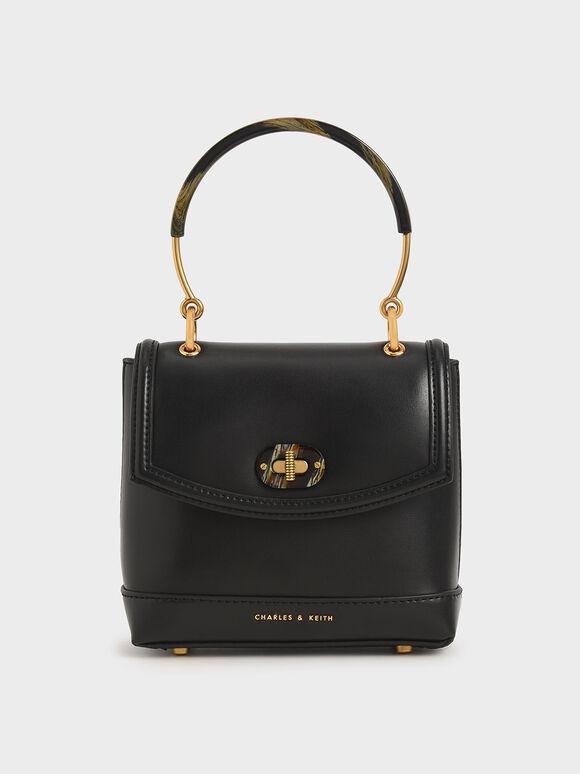 Stone-Embellished Top Handle Bag, Black, hi-res