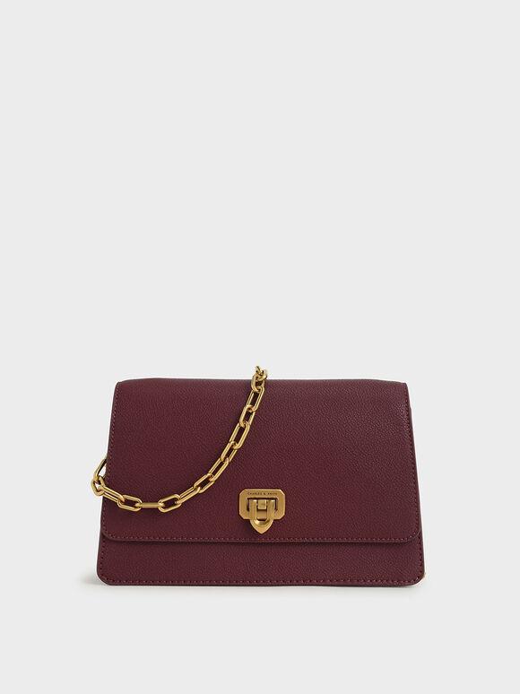 Double Chain Link Push-Lock Bag, Burgundy, hi-res