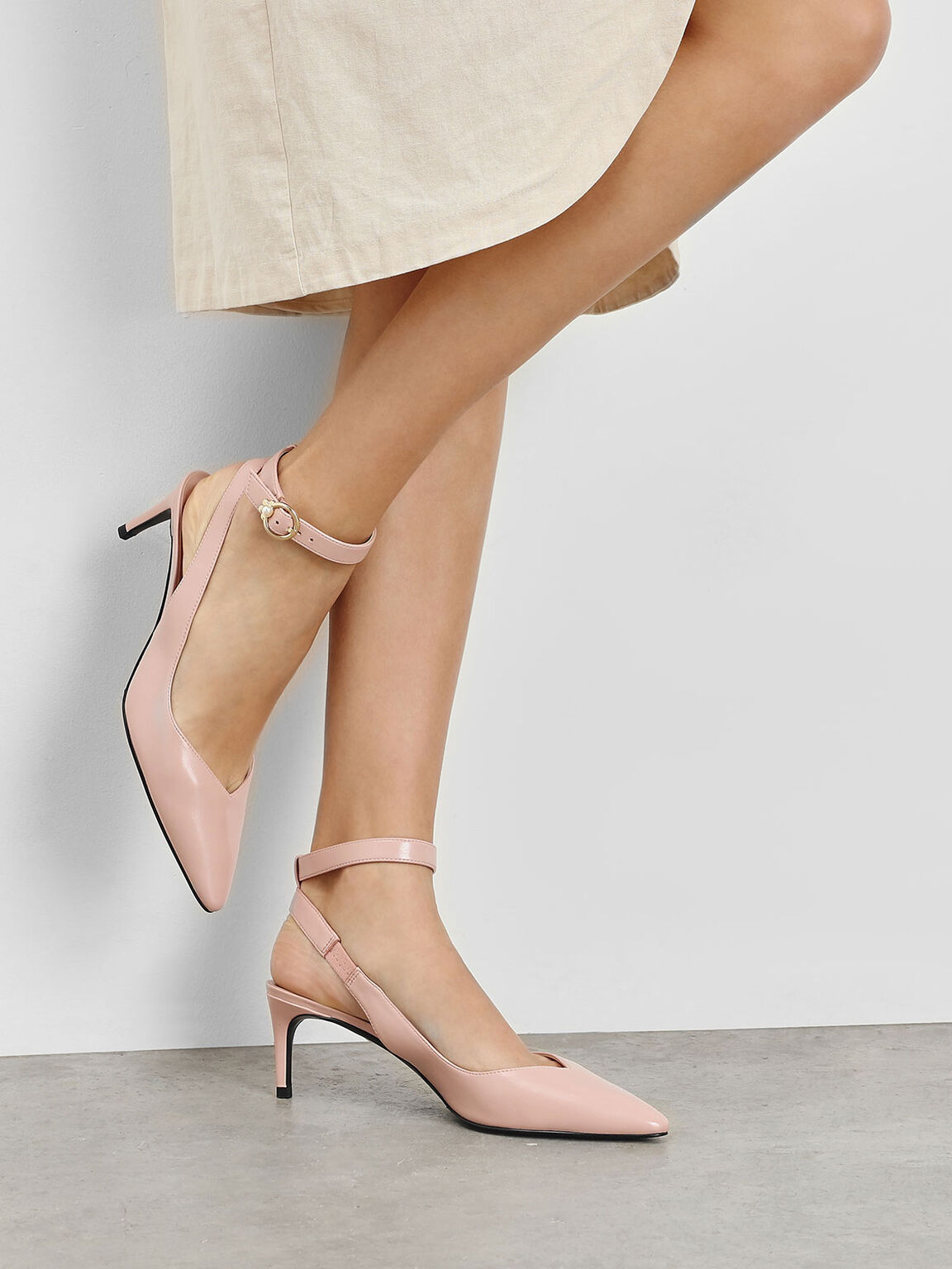 Embellished Ankle Strap Pumps, Peach, hi-res