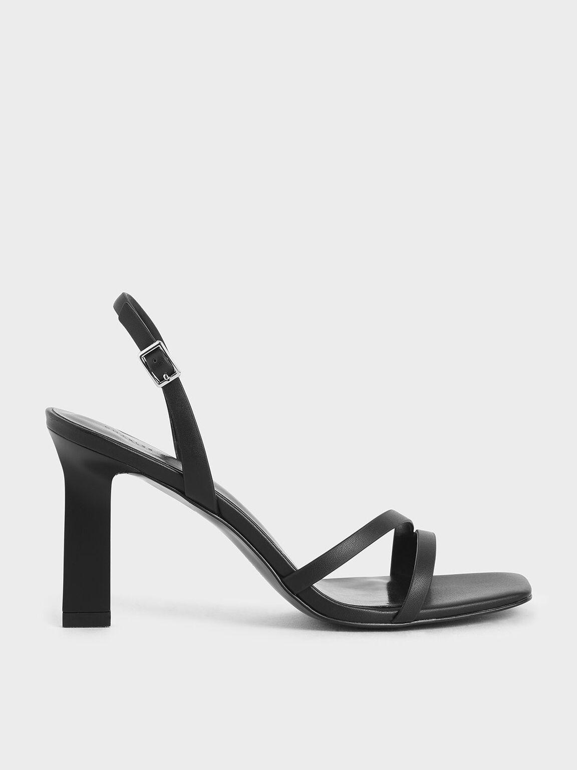 Strappy Blade Heel Slingback Sandals, Black, hi-res