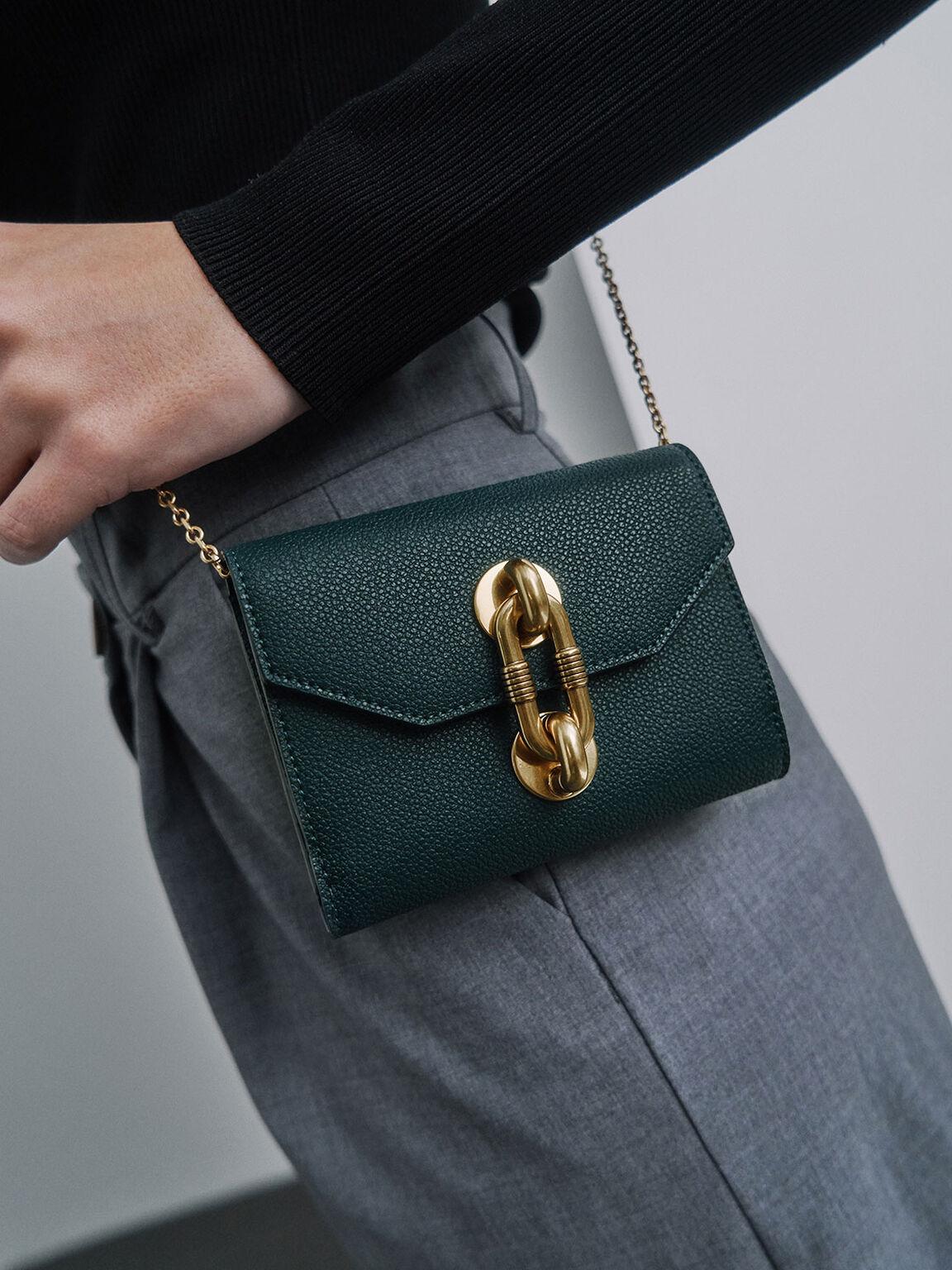 Chain Link Turn-Lock Mini Wallet, Green, hi-res