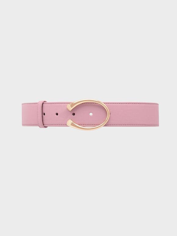Metal Buckle Low Waist Belt, Pink, hi-res
