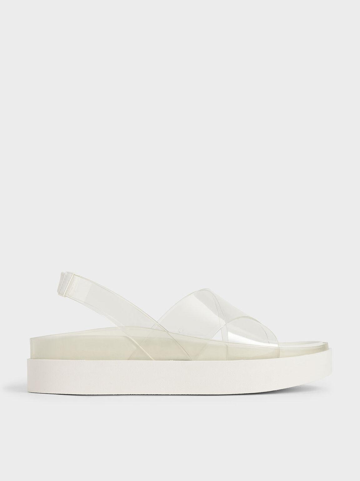 See-Through Effect Flatform Sandals, White, hi-res