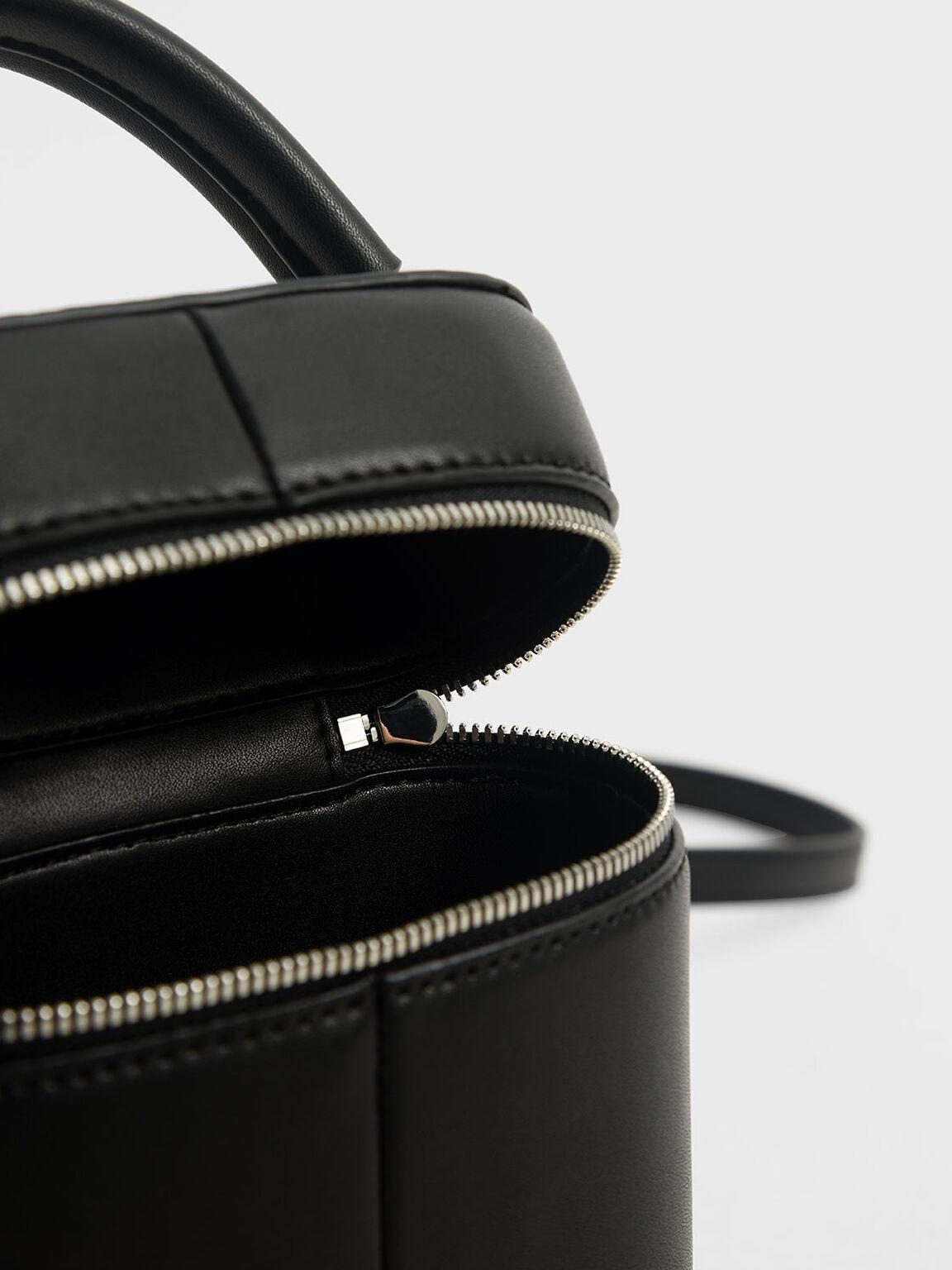 Two-Way Zip Bucket Bag, Black, hi-res