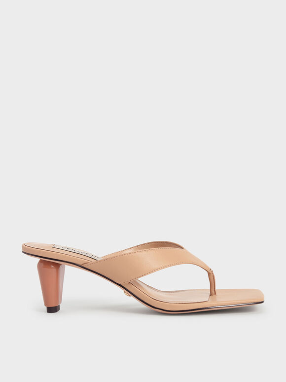 Leather Sculptural Heel Thong Sandals, Nude, hi-res