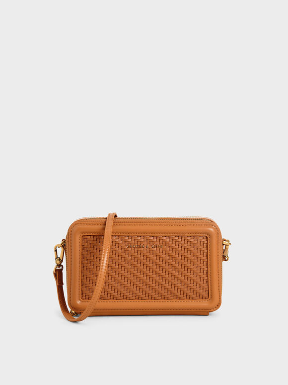 Woven Zip Around Wallet, Cognac, hi-res
