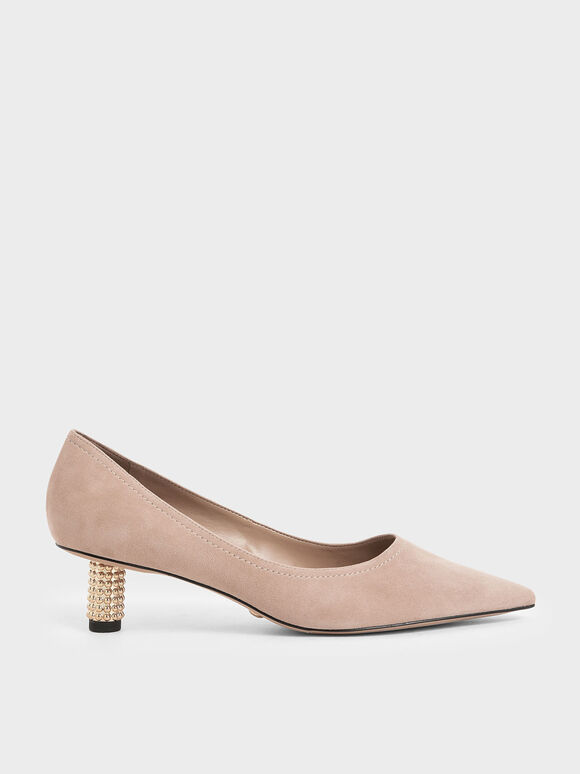 Embellished Kitten Heel Pumps (Kid Suede), Sand, hi-res
