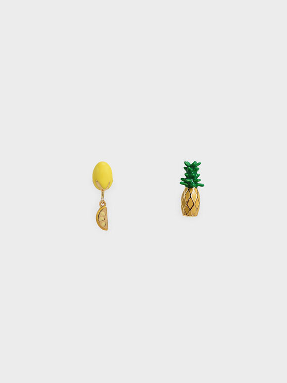 Fruits Stud Earrings, Yellow, hi-res