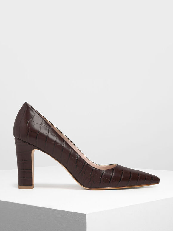 Croc-Effect Pointed Toe Chunky Heel Pumps, Brown, hi-res