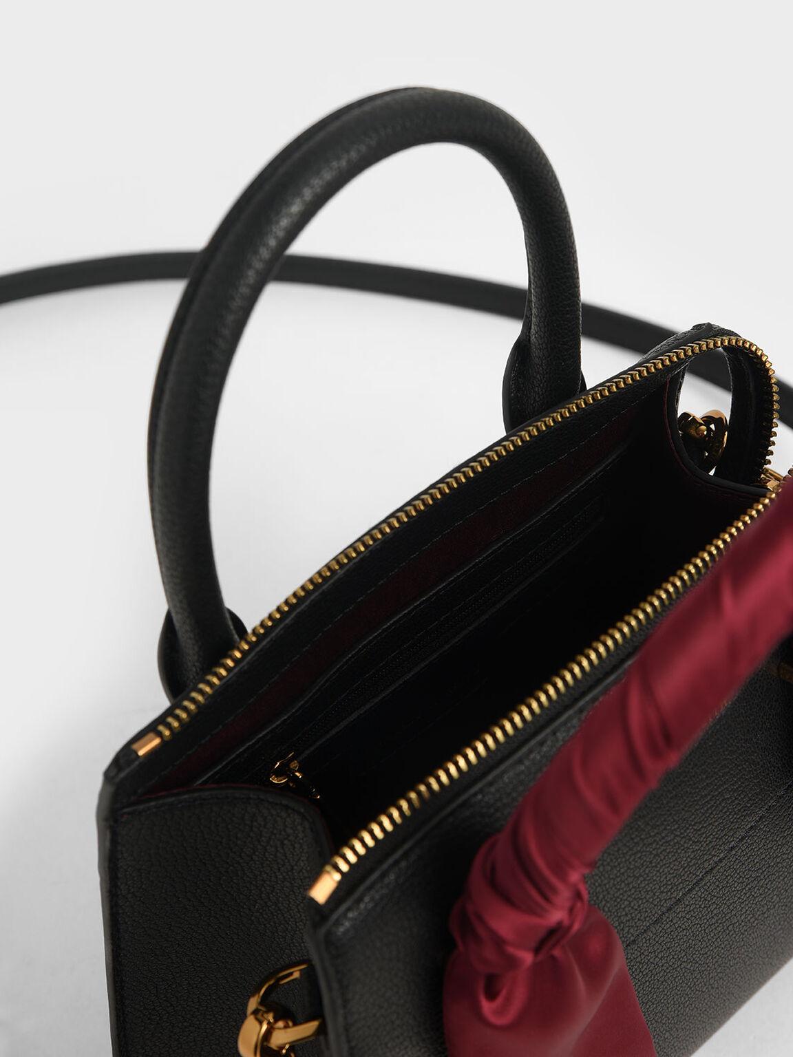 Satin Scarf Top Handle Bag, Black, hi-res