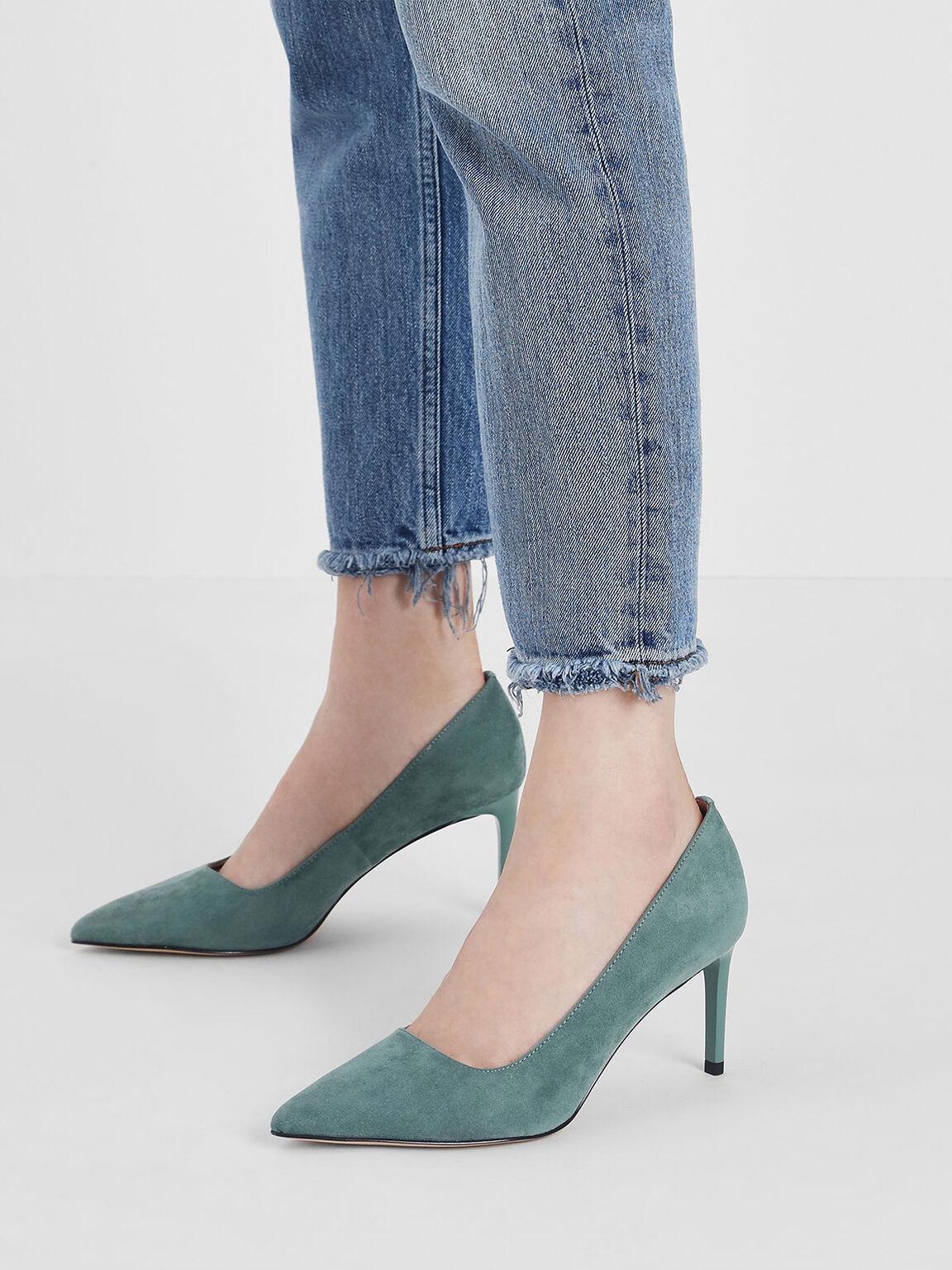 Classic Pointed Toe Pumps, Mint Green, hi-res