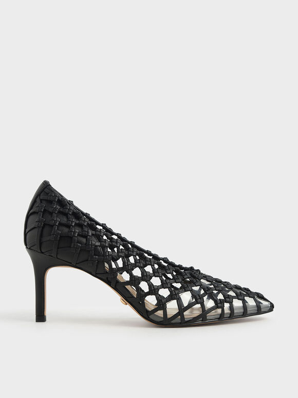 Woven Caged Pumps, Black, hi-res