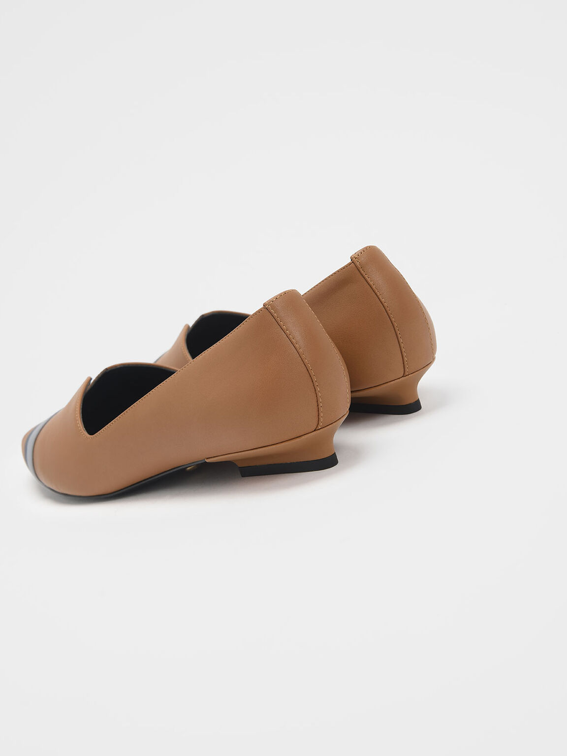 Striped Leather Ballerina Flats, Caramel, hi-res