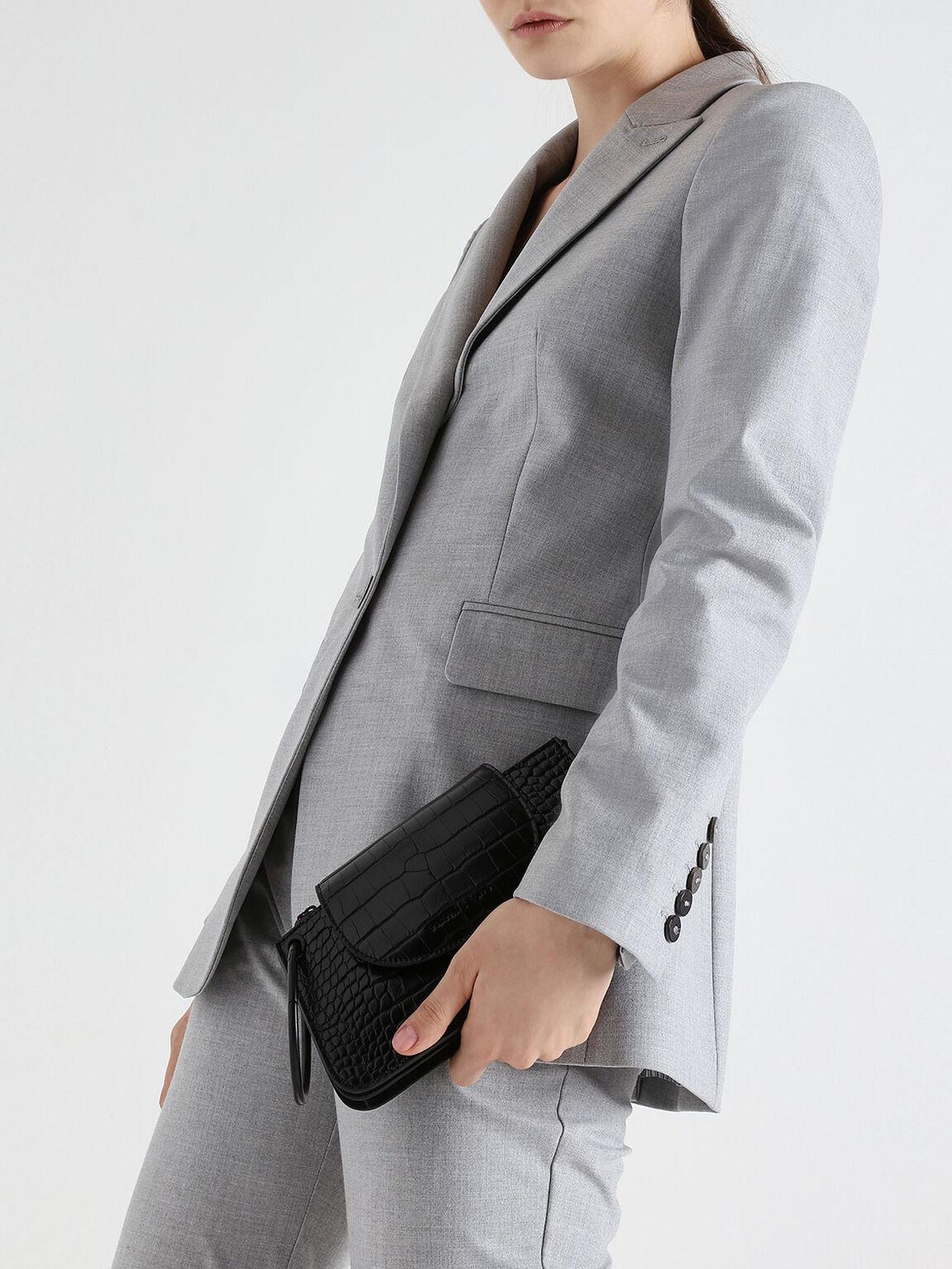 Croc-Effect Ring Handle Mini Front Flap Wallet, Black, hi-res