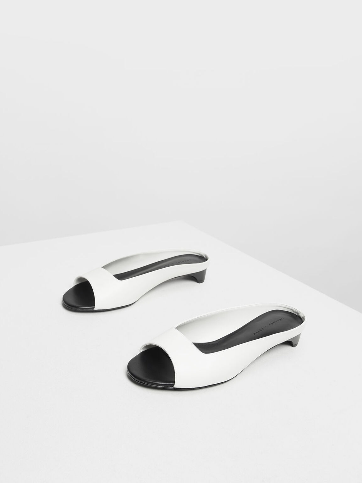 Geometric Cut Kitten Heel Slide Sandals, White, hi-res