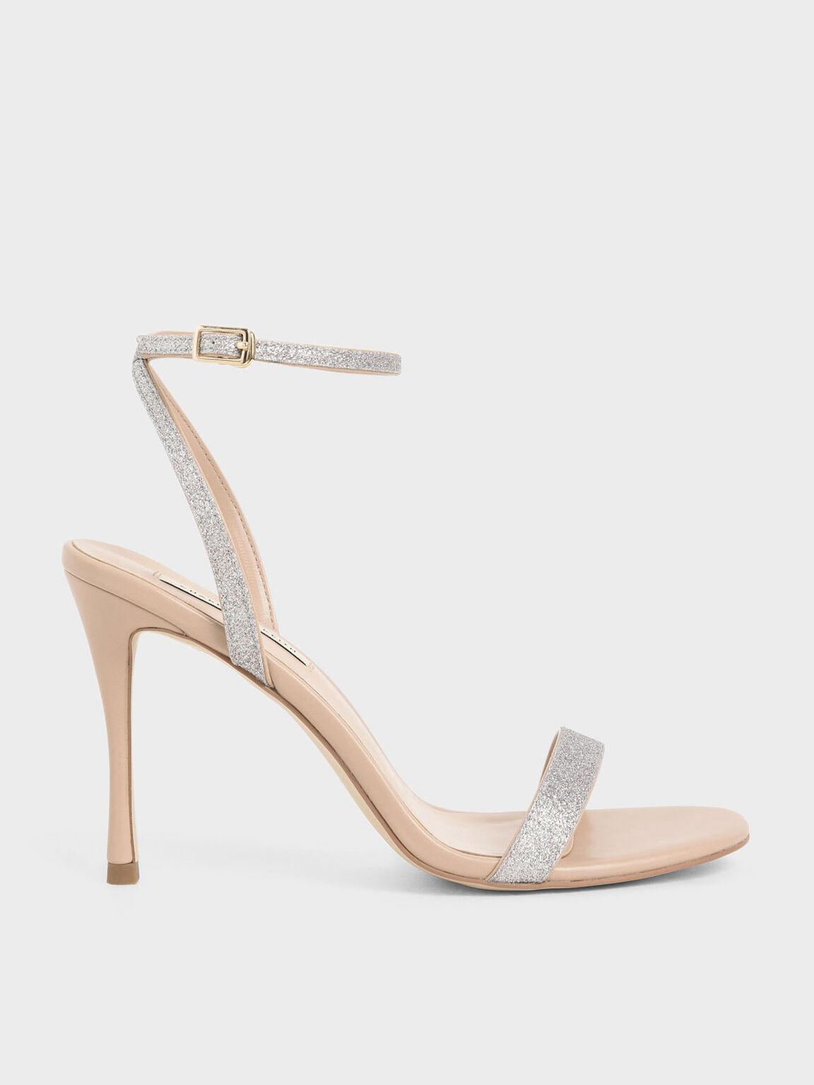 Glitter Ankle Strap Stiletto Heels, Silver, hi-res
