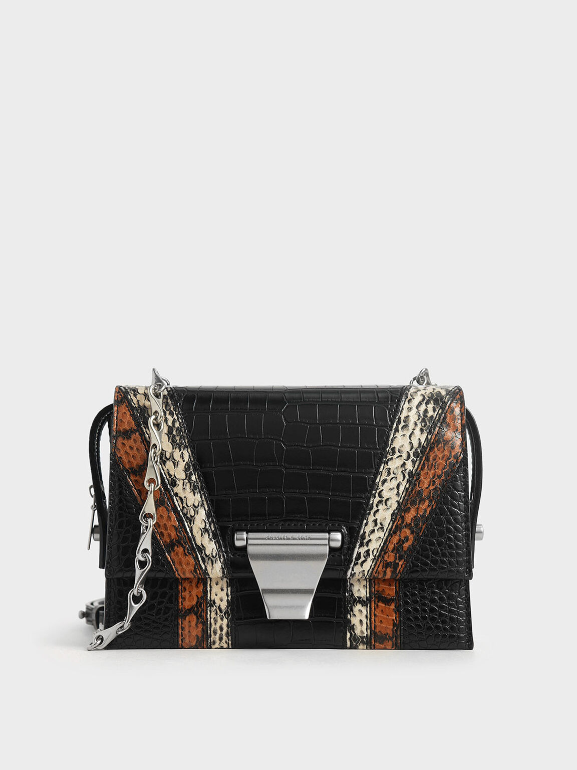 Animal Print Metal Push-Lock Crossbody Bag, Multi, hi-res
