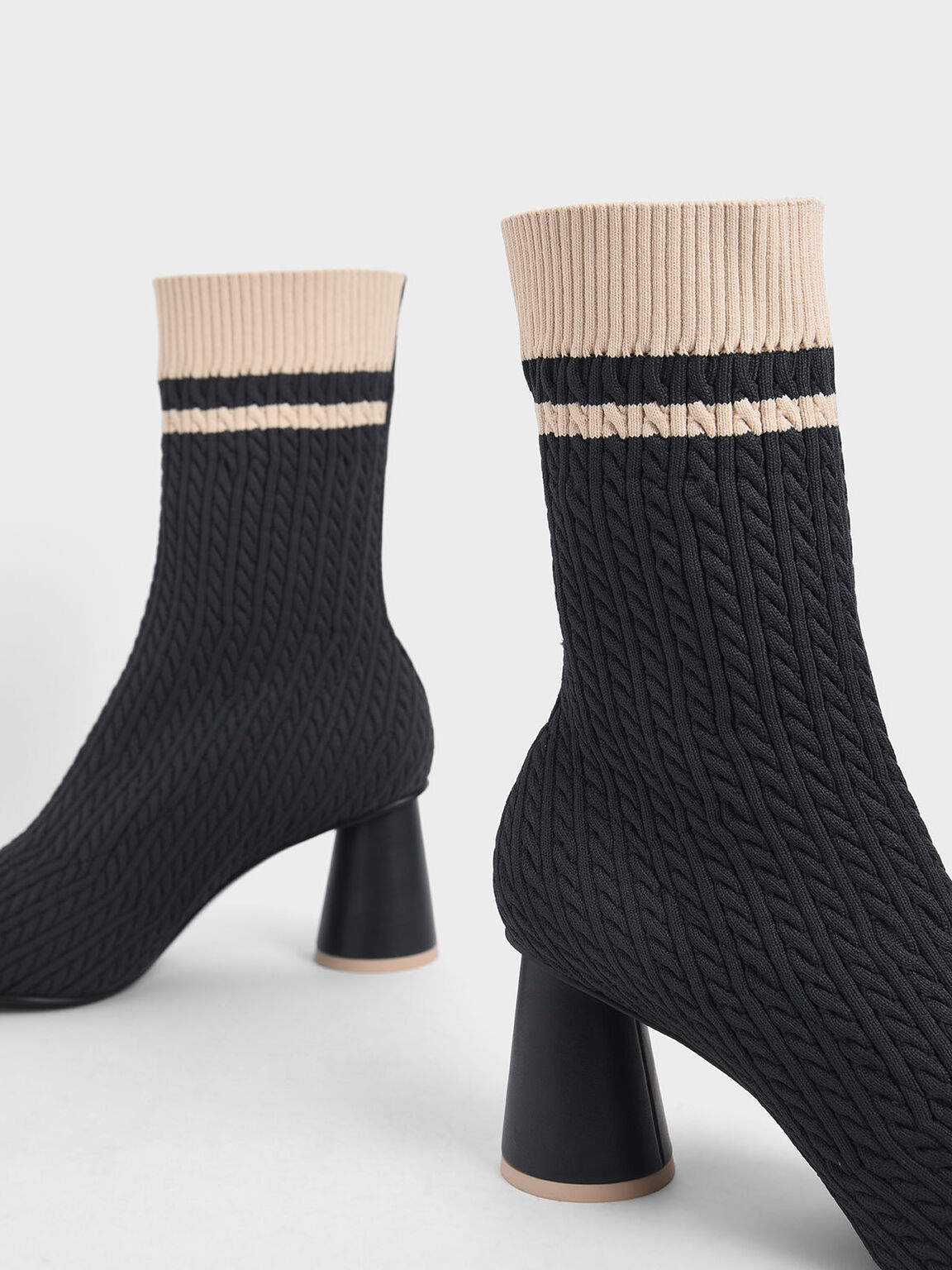 Knitted Sculptural Heel Sock Boots, Dark Blue, hi-res