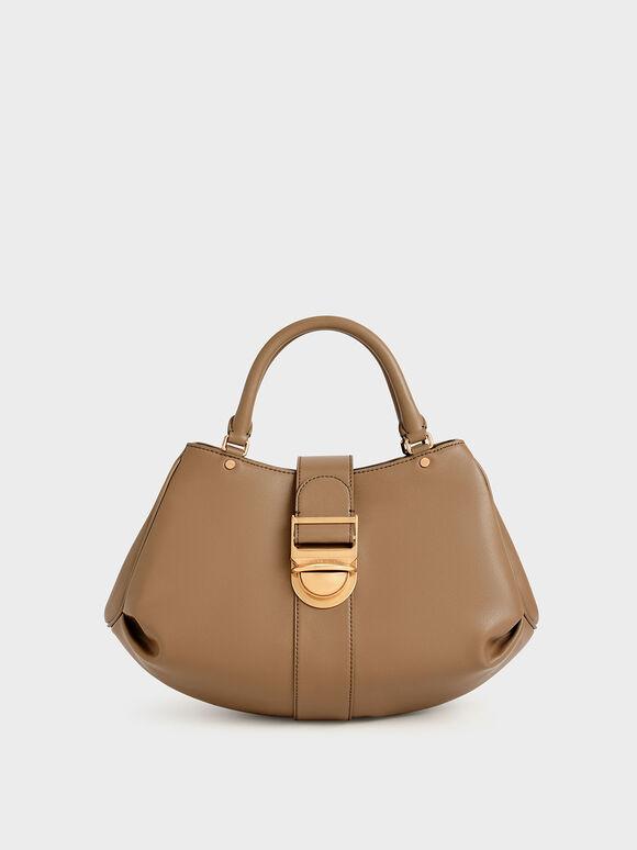 Buckled Tote Bag, Brown, hi-res
