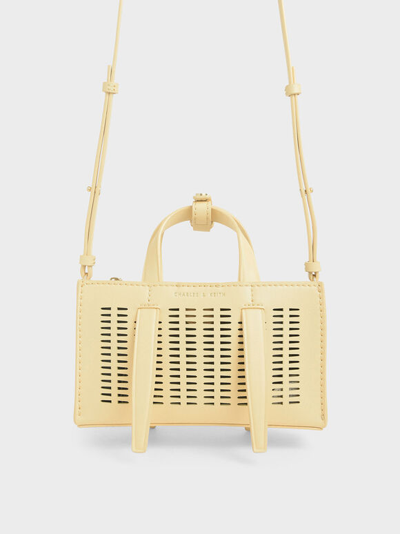 Laser-Cut Double Top Handle Bag, Yellow, hi-res