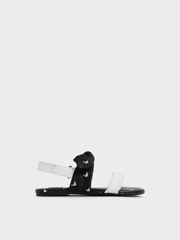 Girls' Printed Bow-Tie Flat Sandals, Black, hi-res